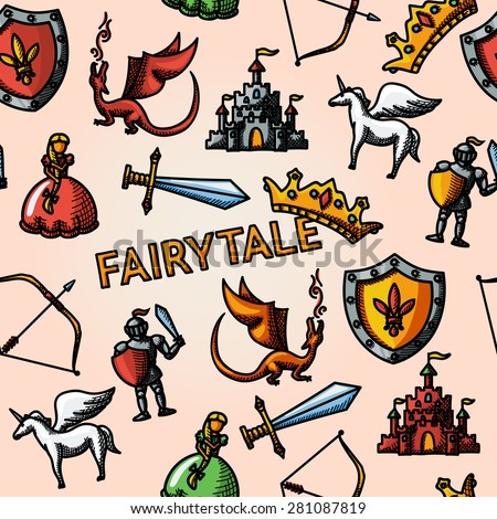 Color hand drawn fairytale (game) pattern with - sword, bow, shield, knight, dragon, princess, crown, unicorn, castle. Vector