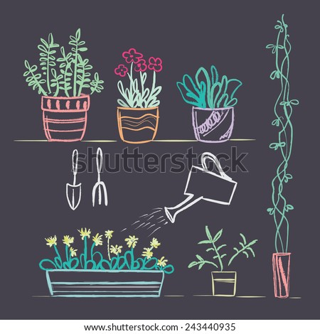Color hand drawn garden tools and plants on blackboard  - stock vector