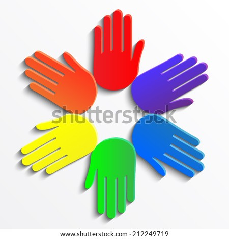 color hands circle/ vector illustration eps10 - stock vector