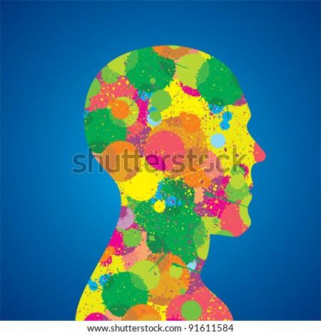 Color head - stock vector