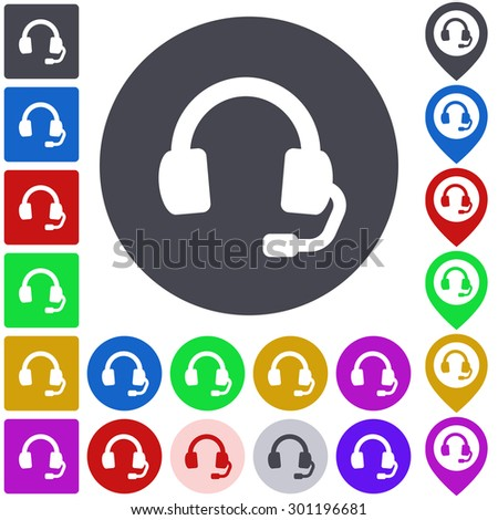Color headphone icon, button, symbol set. Square, circle and pin versions. - stock vector