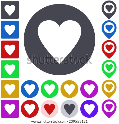 Color heart icon, button, symbol set. Square, circle and pin versions.