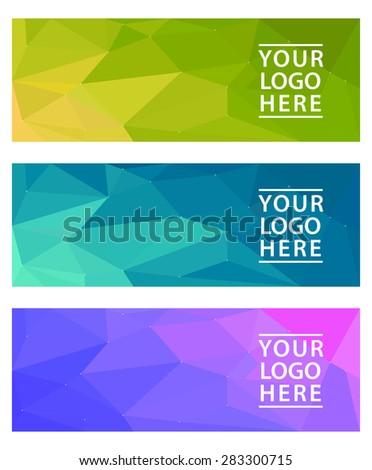 color horizontal polygonal banners set  - stock vector
