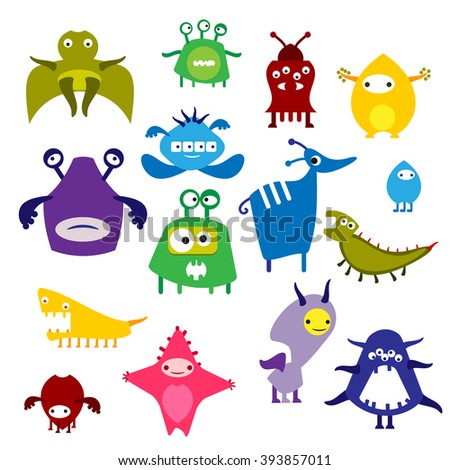 Color icon alien monster on a white background, the animal and fantastic creature