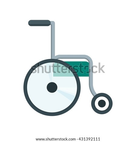 Color icon of wheelchair. Health care equipment. Objects isolated on a white background. Flat vector illustration.