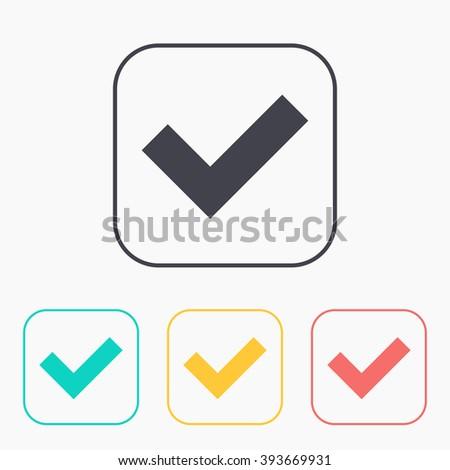 color icon set of check mark - stock vector
