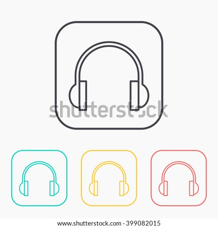color icon set of headphones  - stock vector