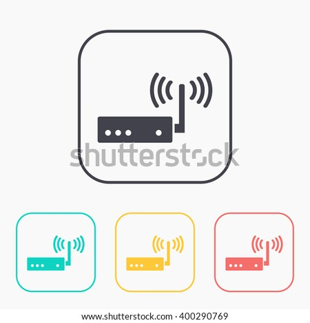 color icon set of router  - stock vector