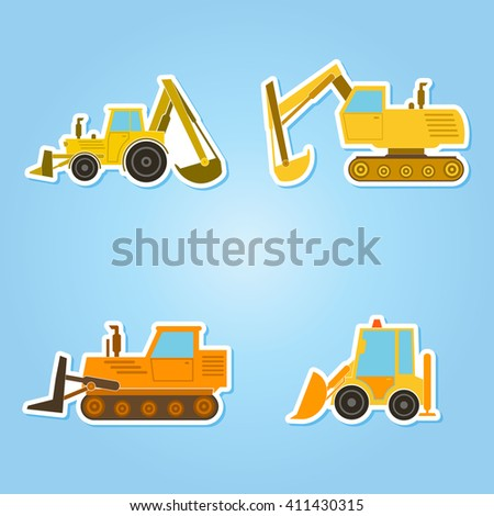 color icon set with construction machines for your design