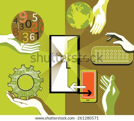 Color icons business, communication, work, contract, statistics and analysis - stock vector