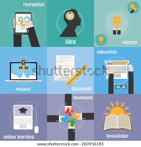 Color icons education, knowledge, idea and teamwork - stock vector