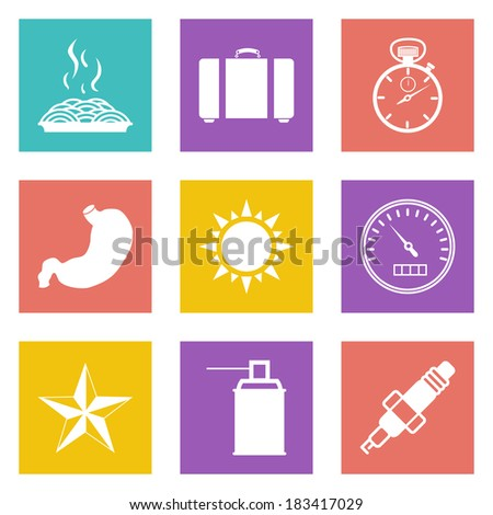 Color icons for Web Design and Mobile Applications set 29. Vector illustration. - stock vector
