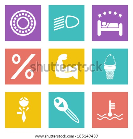 Color icons for Web Design and Mobile Applications set 34. Vector illustration. - stock vector