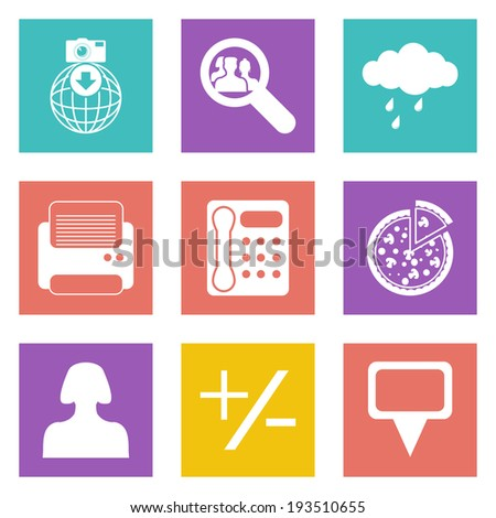 Color icons for Web Design and Mobile Applications set 49. Vector illustration. - stock vector