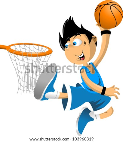 Color illustration. Basketball player throws the ball in the basket; - stock vector