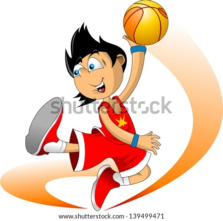 Color illustration. Basketball player throws the ball in the basket - stock vector