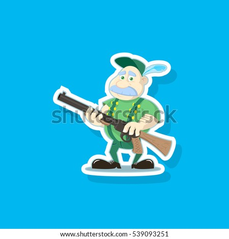 Color illustration of a cute cartoon hunter with a gun