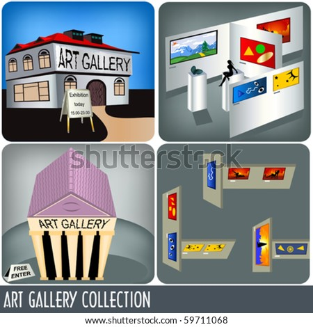 Color Illustration of four art gallery images. - stock vector