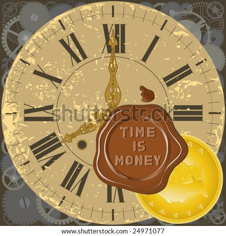 Color illustration with decorative elements of watch, a sealing wax press and a gold coin.