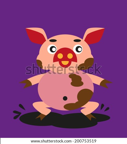 color image of funny cartoon animal pig. - stock vector
