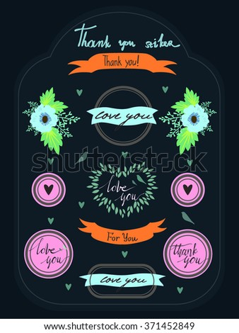 color image vector set with ribbons and phrases of gratitude, print stickers and labels - stock vector