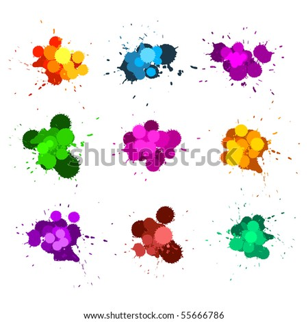 Color ink splats - stock vector