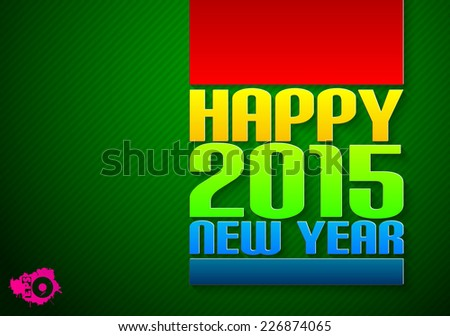 Color inscription Happy new year cut paper - stock vector