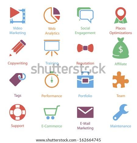 Color Internet Marketing Icons Vol 2 - stock vector