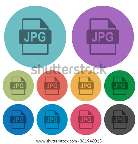 Color jpg file format flat icon set on round background. - stock vector