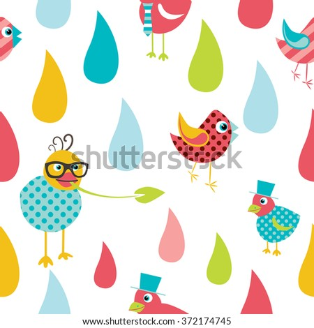 Color Kid Drops And Birds Pattern Flat Design Repeat Seamless Background Vector