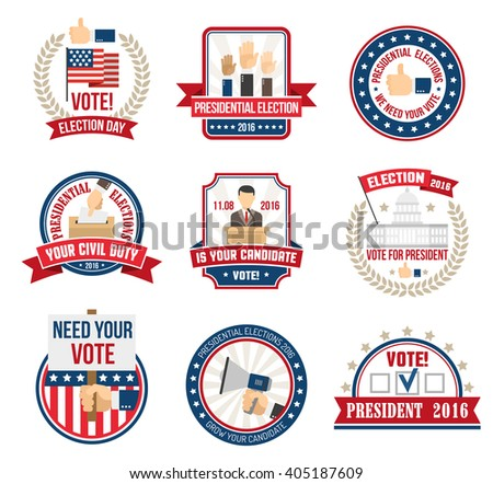 Color labels and emblems for agitating people vote in presidential election in 2016 isolated vector illustration - stock vector