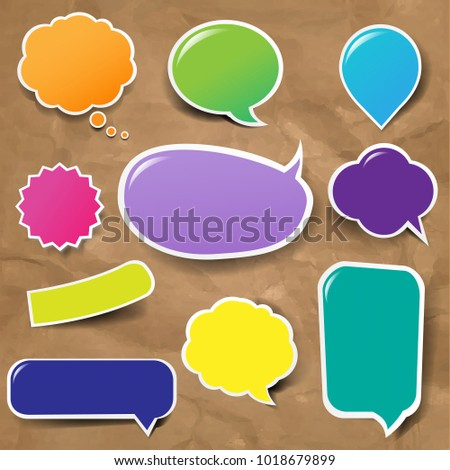 Color Labels Big Set With Cardboard Background With Gradient Mesh, Vector Illustration