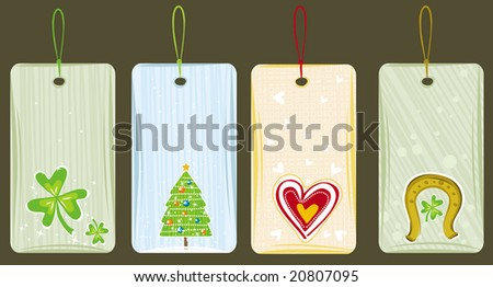 color labels for holidays, vector illustration