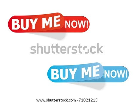 color labels with the inscription BUY ME NOW! Easily change the vector - stock vector