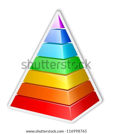 Color layered pyramid sticker. Vector illustration - stock vector
