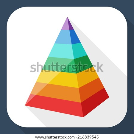 Color layered pyramid with long shadow - stock vector