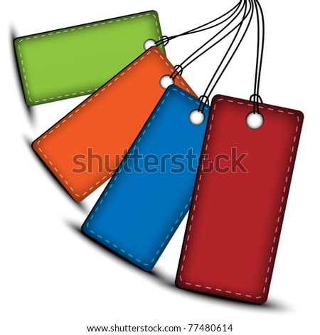 Color leather price tags with space for text - stock vector