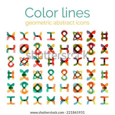 Color line design abstract icons, collection. Logo, business symbols - stock vector