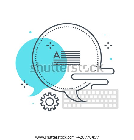 Color line, direct message concept illustration, icon, background and graphics. The illustration is colorful, flat, vector, pixel perfect, suitable for web and print. It is linear stokes and fills. - stock vector