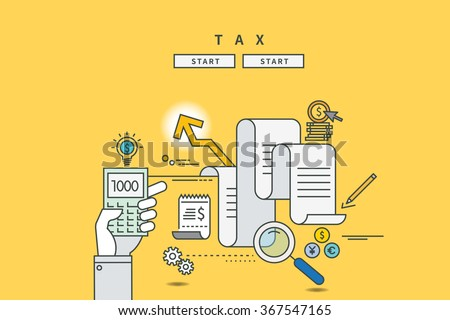 color line flat design of tax, modern vector illustration - stock vector