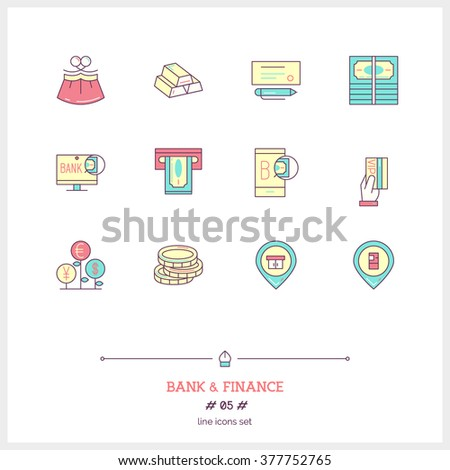 Color line icon set of money making, banking and financial objects and tools elements. Bank business, cash, money, pay, web banking, on-line bank, vip service. Logo icons vector illustration - stock vector