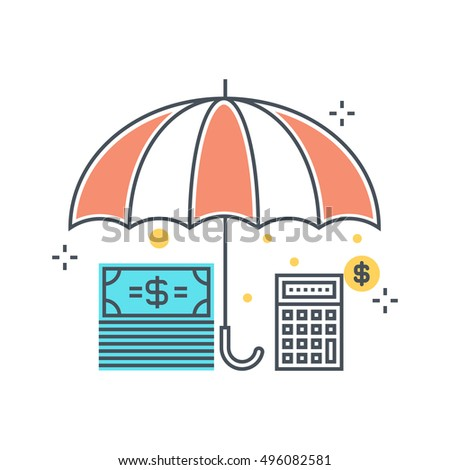 Color line, income insurance concept illustration, icon, background and graphics. The illustration is colorful, flat, vector, pixel perfect, suitable for web and print. It is linear stokes and fills.