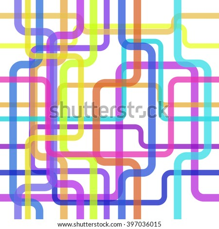 Color lines seamless pattern, tangled stripes background for conceptual design projects. Vector