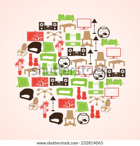 color living room icon set in circle eps10 - stock vector