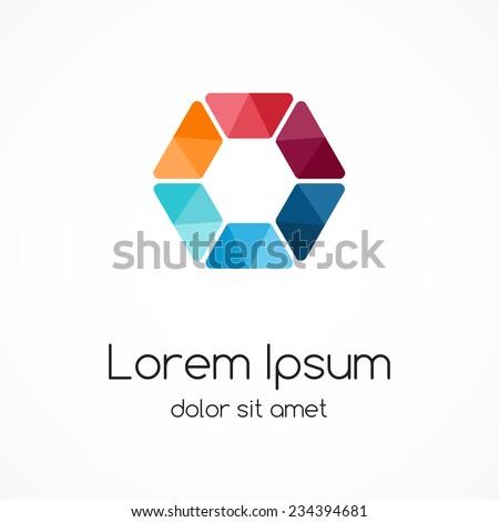 Color logo template. Design hexagon element, sign, symbol. - stock vector
