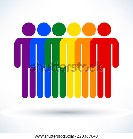 Color logotype six man LGBT movement rainbow flag. Simple silhouette information sign with gray drop shadow isolated on white background in flat style. Design elements in vector illustration 8 eps - stock vector