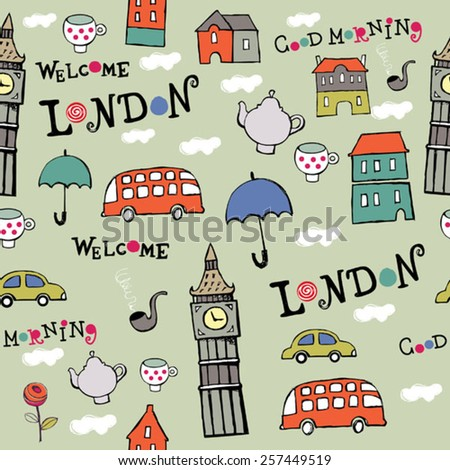 color London hand drawn vector pattern - stock vector
