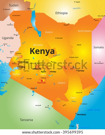 color map of Kenya country - stock vector