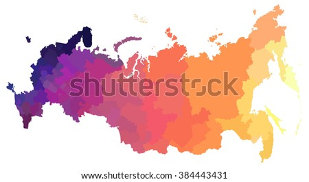 Color map of Russia,all provinces and regions - stock vector