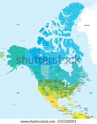 Color map of the USA and Canada - stock vector